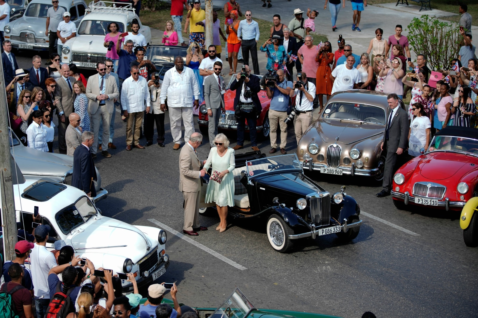 Britain's Prince Charles and Camilla, Duchess of Cornwall arrive at a British Classic Car event in Havana, Cuba, March 26, 2019. REUTERS/Alexandre Meneghini