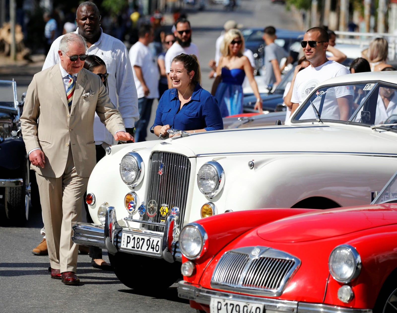 Britain's Prince Charles inspects a vintage Jaguar at a British classic car event in Havana, Cuba March 26, 2019. REUTERS/Phil Noble