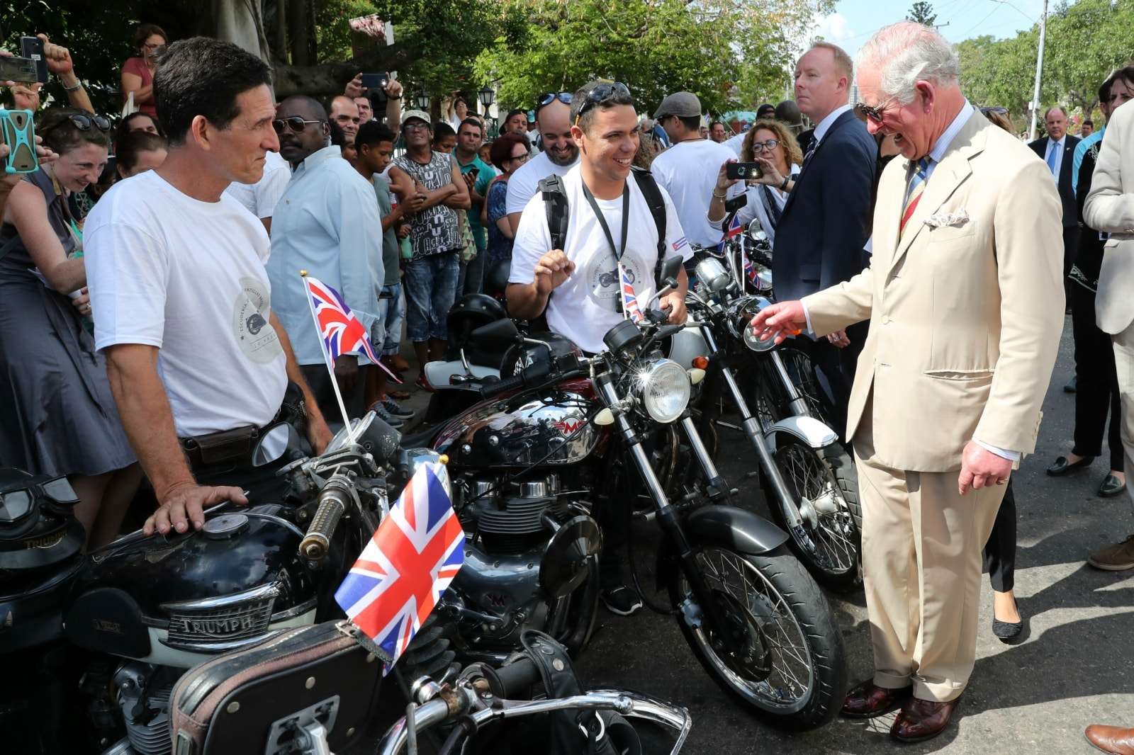 Britain's Prince Charles meets local bikers at a British Classic Car event in Havana, Cuba March 26, 2019. Chris Jackson/Pool via REUTERS