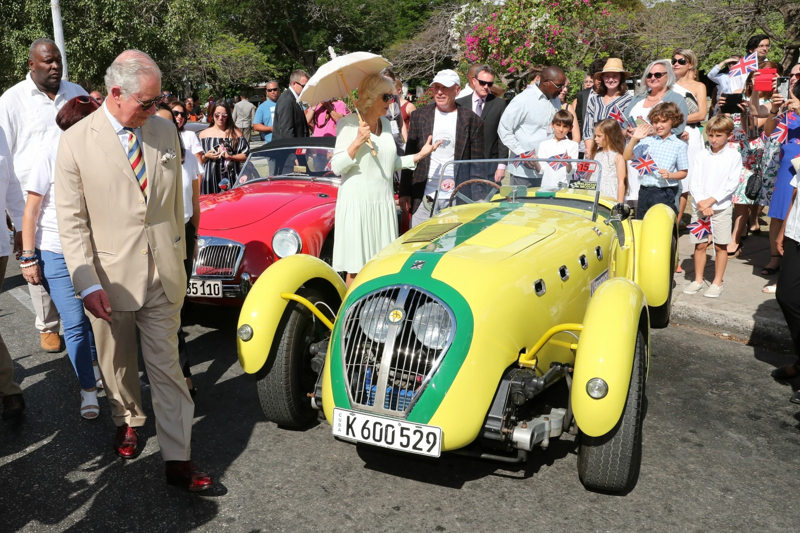 Britain's Prince Charles and Camilla, Duchess of Cornwall take a tour during a British Classic Car event in Havana, Cuba March 26, 2019. Chris Jackson/Pool via REUTERS