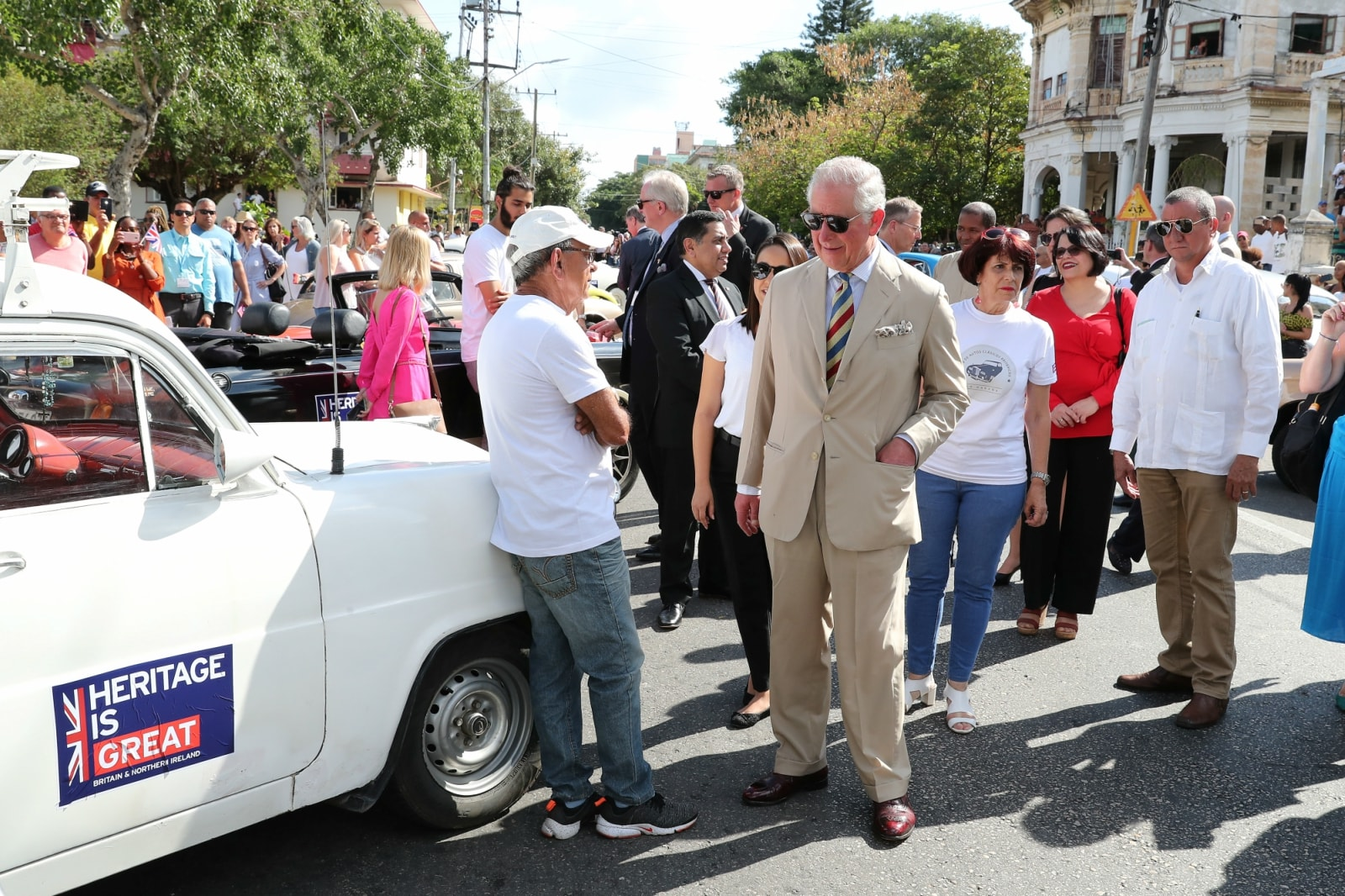 Britain's Prince Charles takes a tour during a British Classic Car event in Havana, Cuba March 26, 2019. Chris Jackson/Pool via REUTERS