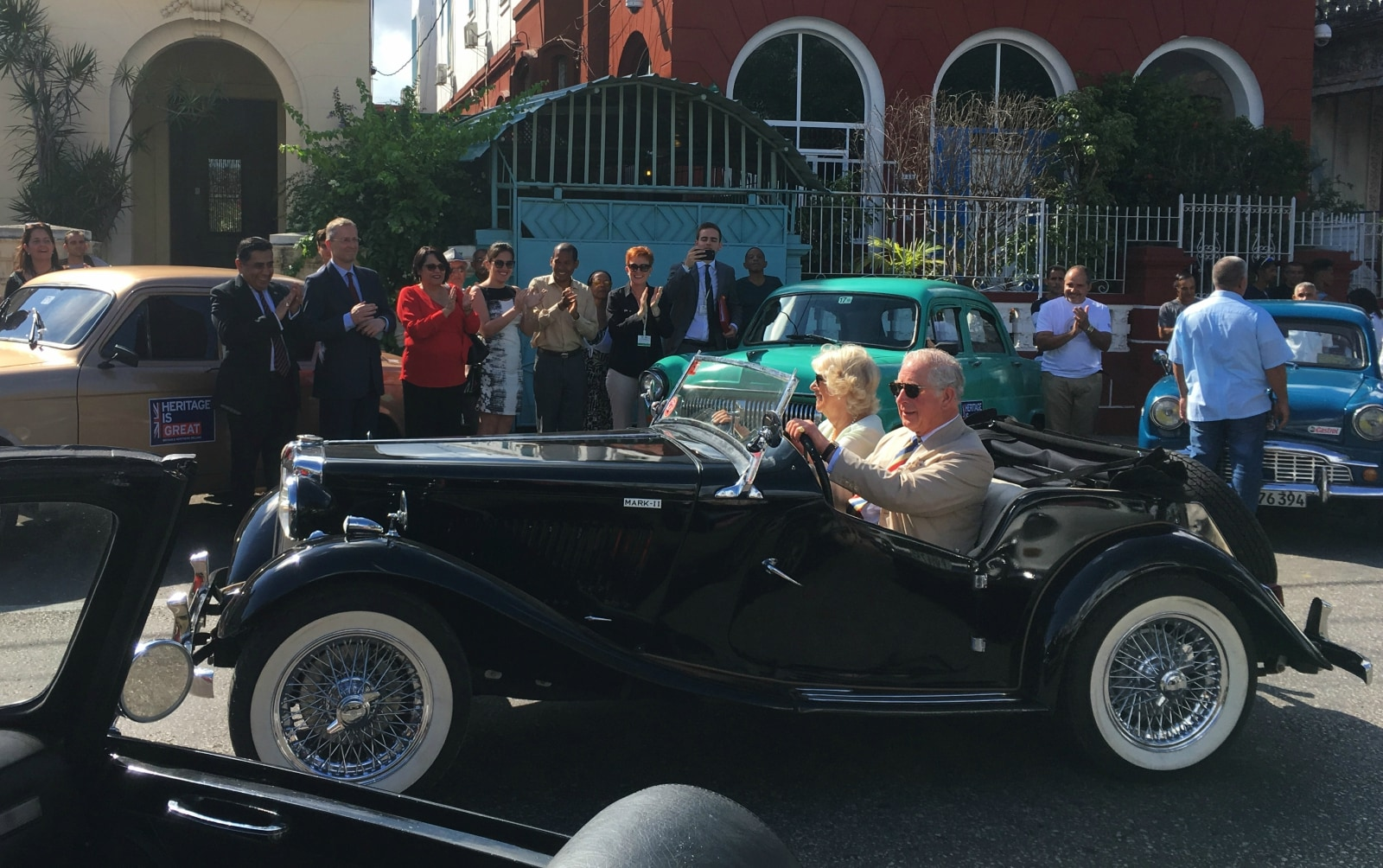 Britain's Prince Charles and Camilla, Duchess of Cornwall arrive at a British Classic Car event in Havana, Cuba, March 26, 2019. REUTERS/Sarah Marsh