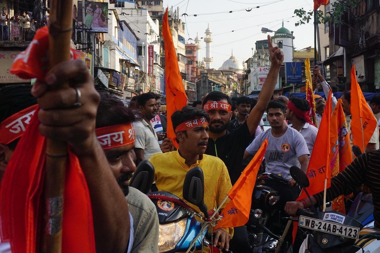 A bike rally during the Ram Navami procession in Kolkata.