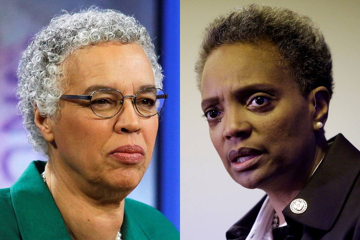 Chicago mayoral candidates Toni Preckwinkle (L) and Lori Lightfoot are seen in this combination photo. (REUTERS/Joshua Lott/File Photo)