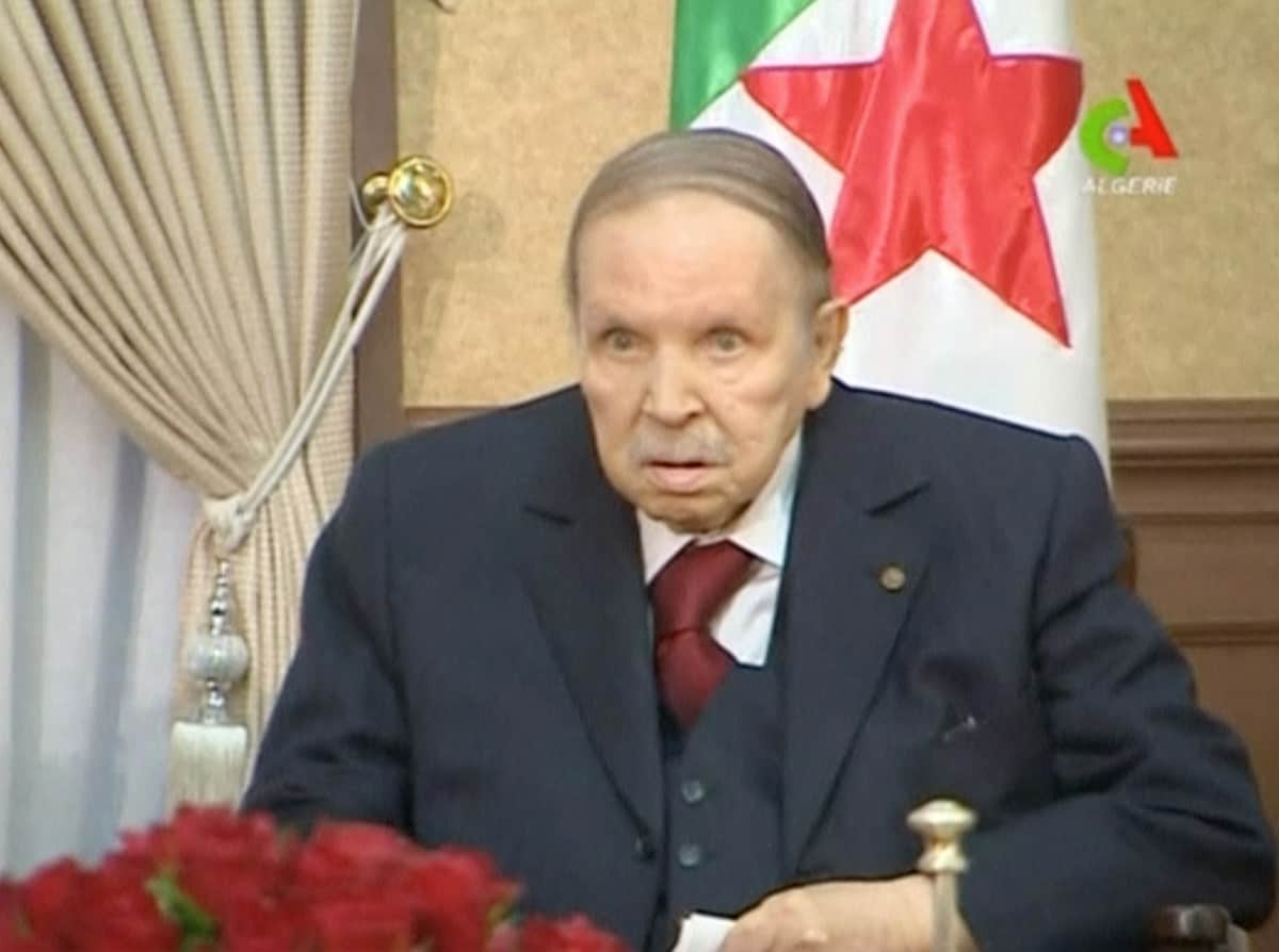 Algeria's President Abdelaziz Bouteflika looks on during a meeting with Army Chief of Staff Lieutenant General Gaid Salah in Algiers, Algeria, in this handout still image taken from a TV footage released on March 11, 2019. (Algerian TV /Handout via Reuters/File Photo)