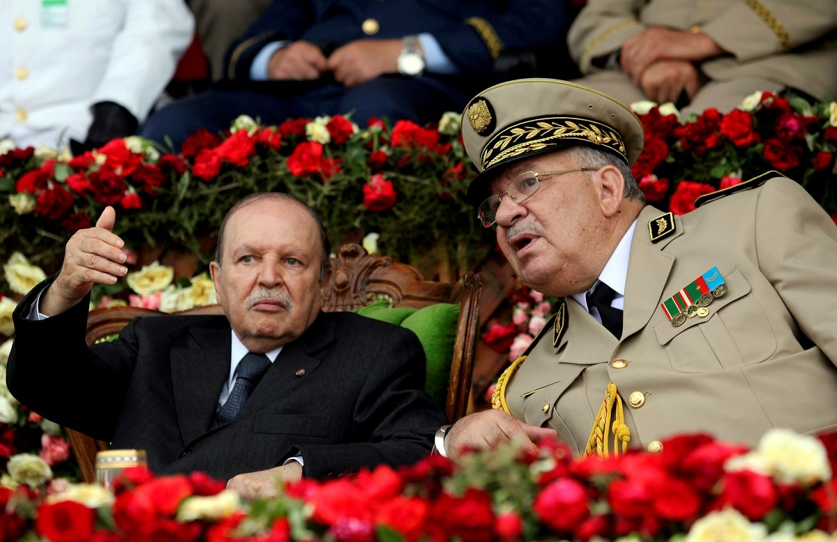 Algeria's President Abdelaziz Bouteflika gestures while talking with Army Chief of Staff General Ahmed Gaed Salah during a graduation ceremony of the 40th class of the trainee army officers at a Military Academy in Cherchell 90 km west of Algiers. (REUTERS/Ramzi Boudina/File Photo)