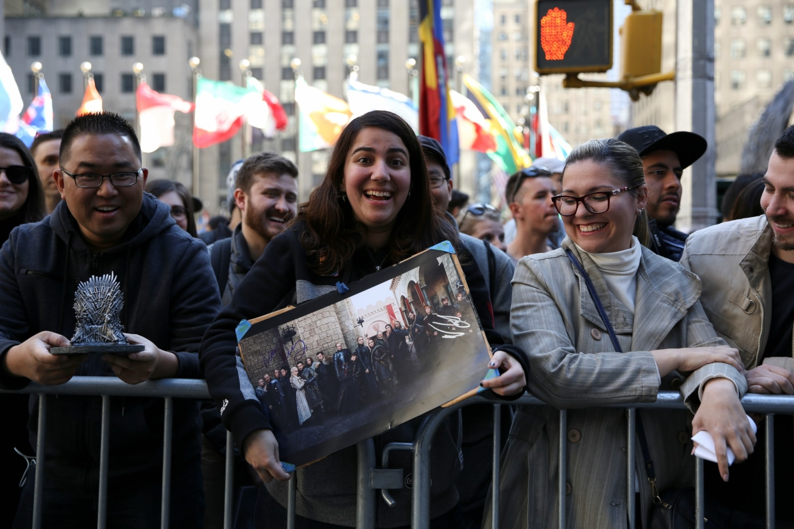 Fans wait for actors to arrive for the premiere of the final season of