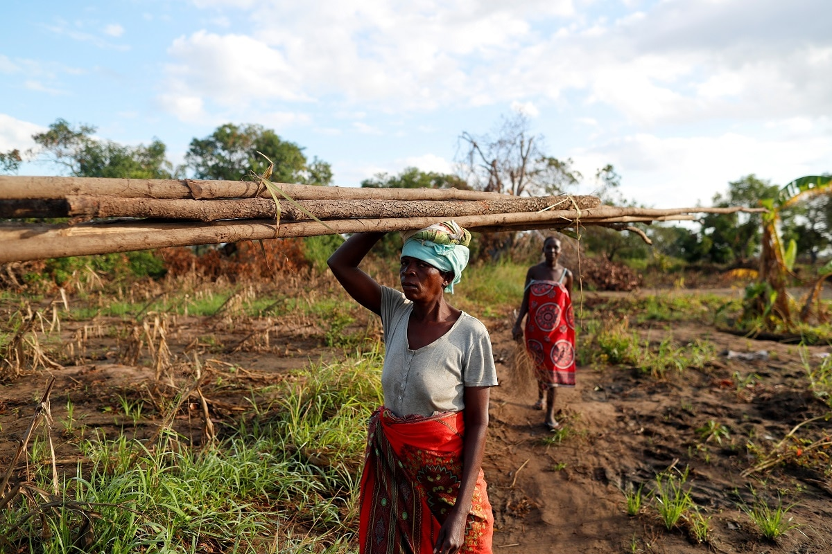 Maria Jofresse walks behind her mother-in-law Teresa Miquitaio, 49, as she carries wood to build a makeshift shelter. (REUTERS/Zohra Bensemra)
