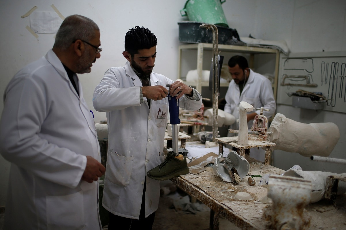A technician works in an artificial limb centre in Gaza City. (REUTERS/Mohammed Salem/Files)