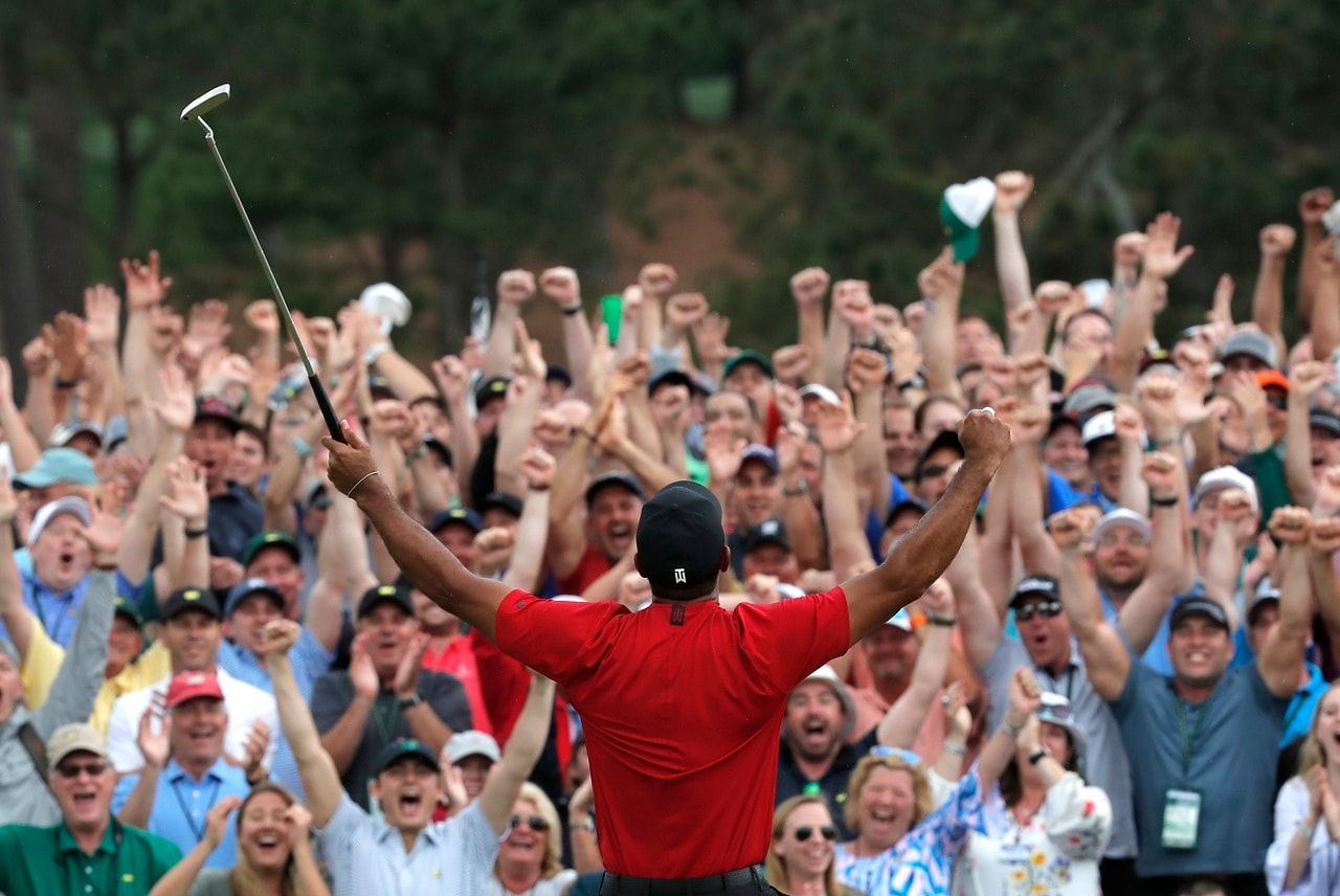 Golf - Masters - Augusta National Golf Club - Augusta, Georgia, US - April 14, 2019 - Tiger Woods of the US celebrates on the 18th hole after winning the 2019 Masters. (Reuters)