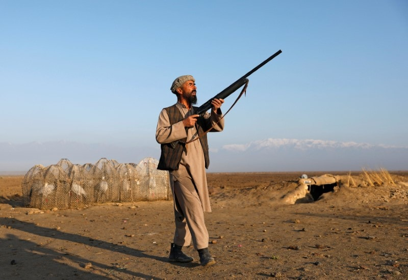 Jan Agha 49, an Afghan hunter, aims his gun at birds in Bagram, Parwan province, Afghanistan April 10, 2019. Picture taken April 10, 2019. REUTERS/Mohammad Ismail