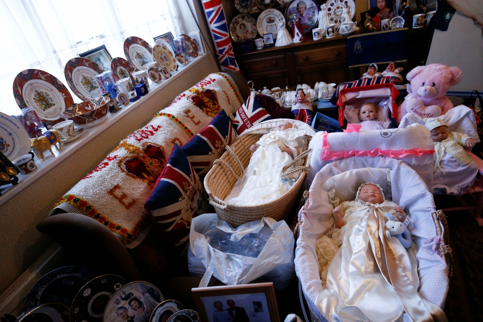 Royal Family memorabilia can be seen inside the home of Royal fan Margaret Tyler, in north London, Britain April 10, 2019. REUTERS/Henry Nicholls/Files