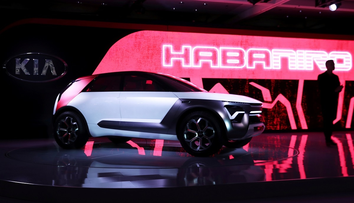 The Kia HabaNiro electric concept car is revealed at the 2019 New York International Auto Show in New York City, New York. (REUTERS/Shannon Stapleton/File Photo)