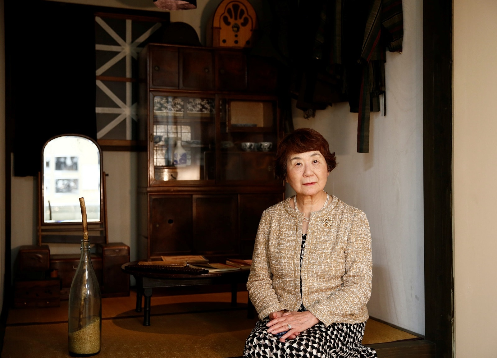 Haruyo Nihei poses at a museum about March 10, 1945, US firebombing in Tokyo, Japan April 19, 2019. REUTERS/Kim Kyung-hoon