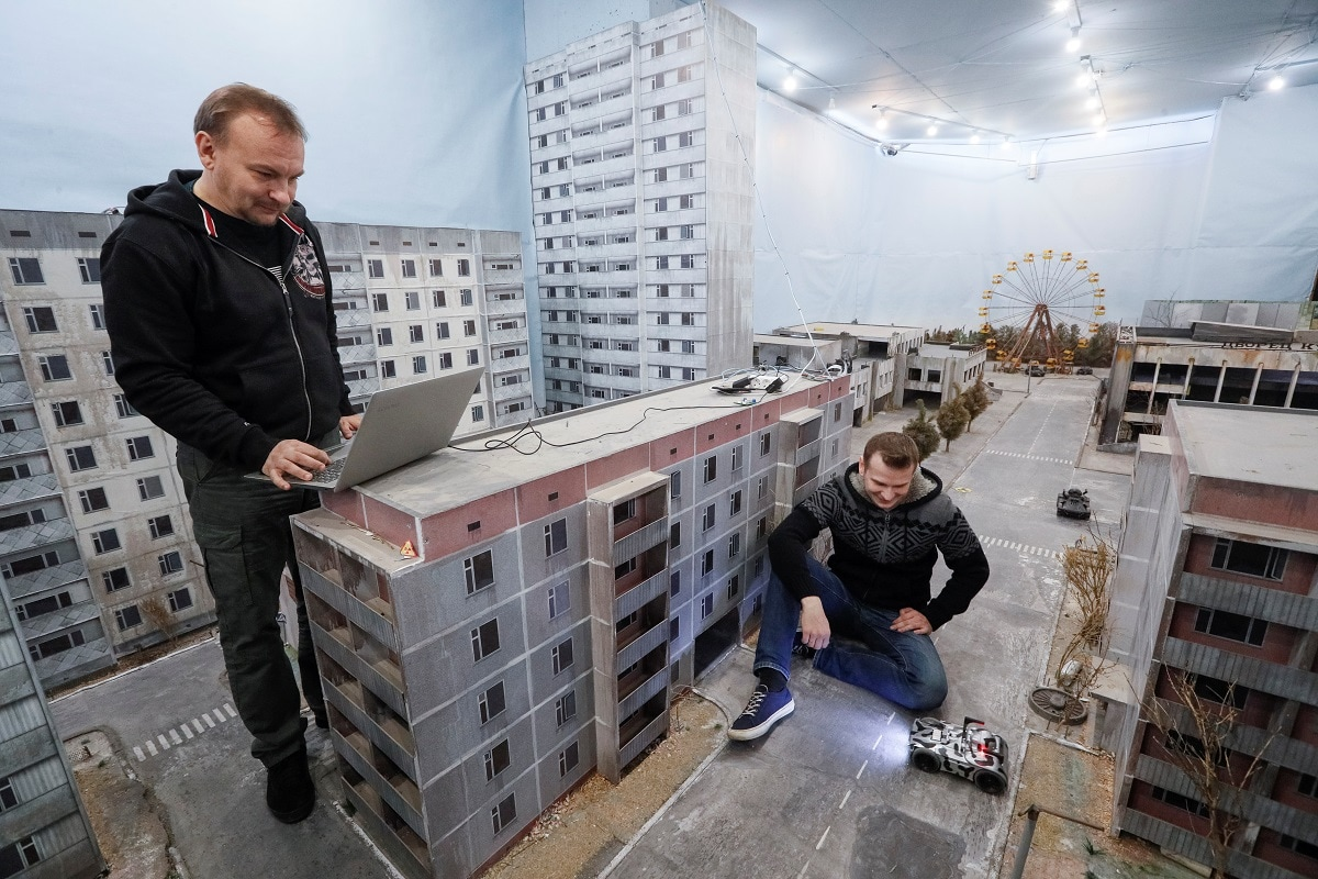 Co-founders of the 'Isotopium: Chernobyl' game Sergey Beskrestnov and Alexey Fateyev attend an interview with Reuters at the game's location in Brovary, Ukraine. While the game takes its theme from the nuclear disaster at Chernobyl in northern Ukraine it was also inspired by the 2009 science fiction film