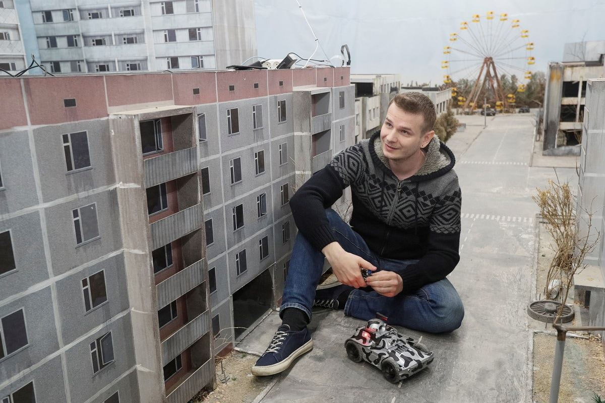 The game's real-scale model occupies a 180 square metre (1,938 sq. ft) basement of a residential building in the Ukraine city of Brovary, just 150 km (93 miles) from the Chernobyl Exclusion Zone and 30 km east of Kiev. (REUTERS/Valentyn Ogirenko)