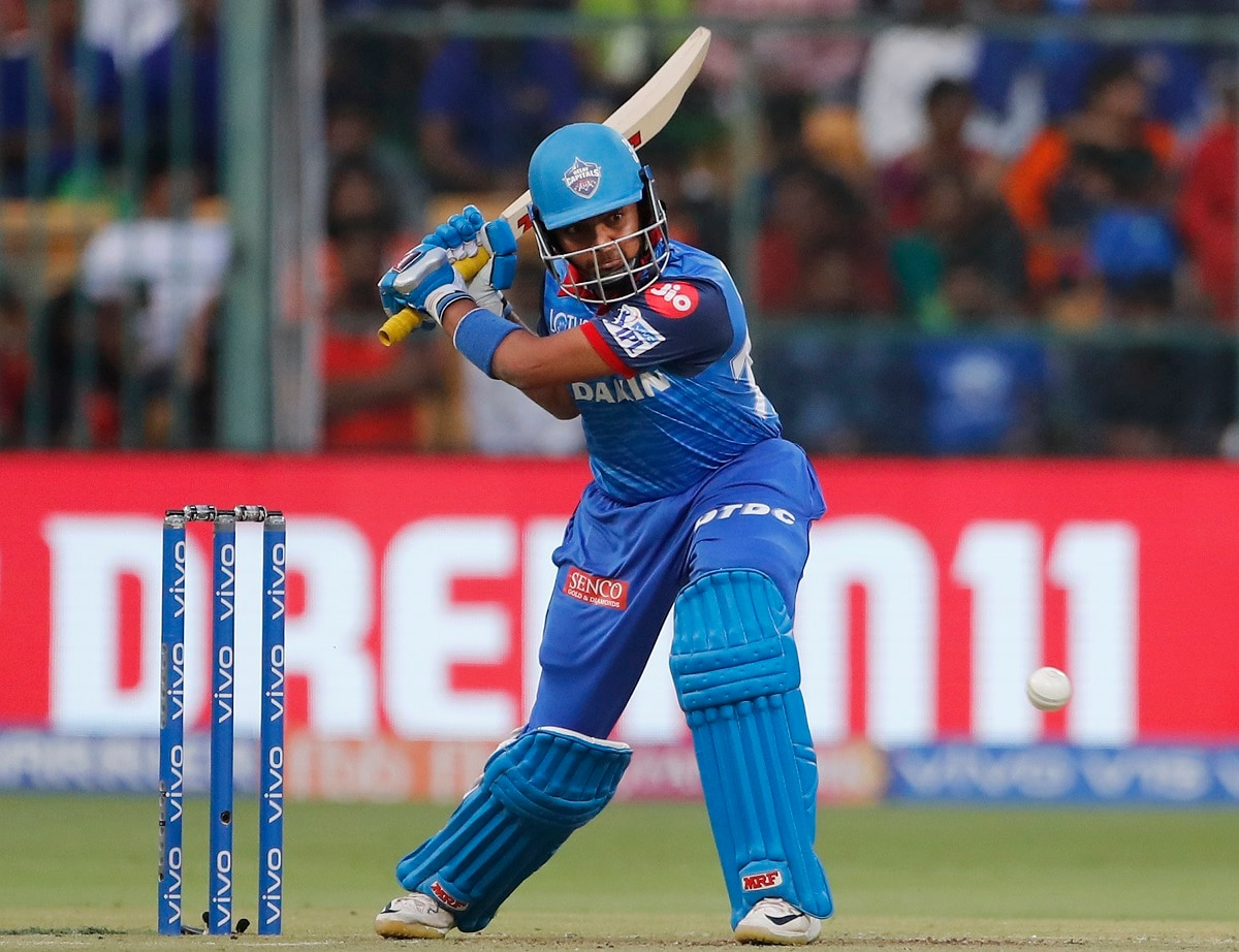 Delhi Capitals' Prithvi Shaw plays a shot during the VIVO IPL T20 cricket match between Royal Challengers Bangalore and Delhi Capitals. (AP Photo/Aijaz Rahi)