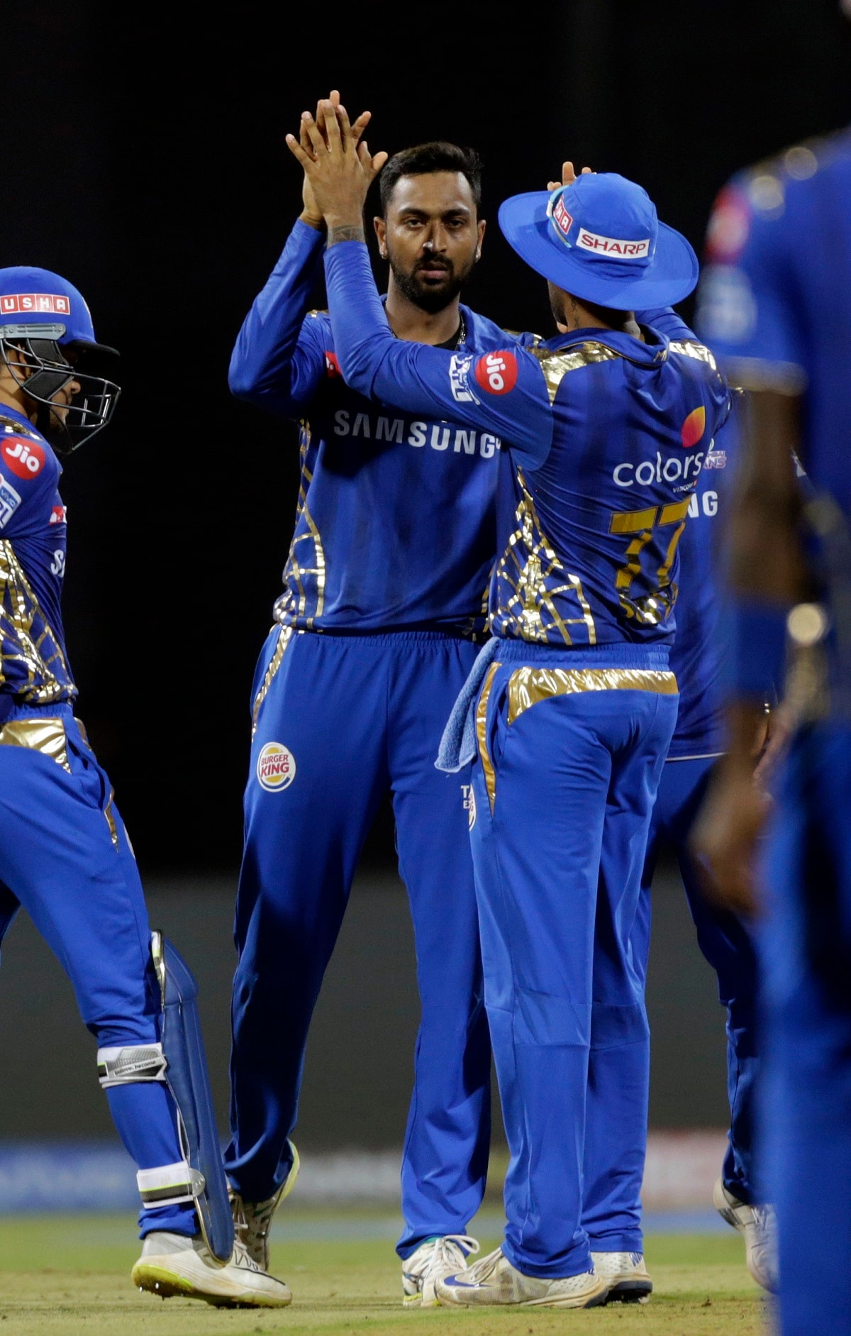 Mumbai Indians' Krunal Pandya celebrates the dismissal of Rajasthan Royals' Liam Livingstone's during the VIVO IPL T20 cricket match between Mumbai Indians and Rajasthan Royals. (AP Photo/Rajanish Kakade)