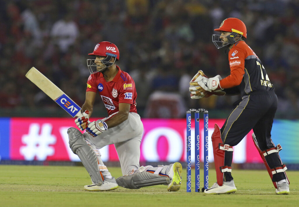 Mayank Agarwal of Kings XI Punjab bats during the VIVO IPL T20 cricket match between Kings XI Punjab and Royal Challengers Bangalore in Mohali, India, Saturday, April 13, 2019. (AP Photo/Surjeet Yadav)