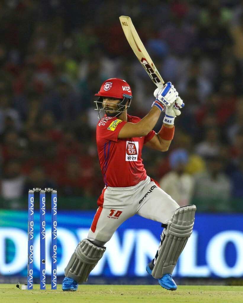 Mandeep Singh of Kings XI Punjab bats during the VIVO IPL T20 cricket match between Kings XI Punjab and Royal Challengers Bangalore in Mohali, India, Saturday, April 13, 2019. (AP Photo/Surjeet Yadav)