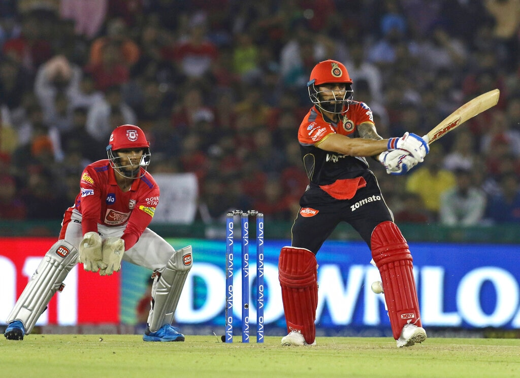 Royal Challengers Bangalore's Virat Kohli bats during the VIVO IPL T20 cricket match between Kings XI Punjab and Royal Challengers Bangalore in Mohali, India, Saturday, April 13, 2019. (AP Photo/Surjeet Yadav)