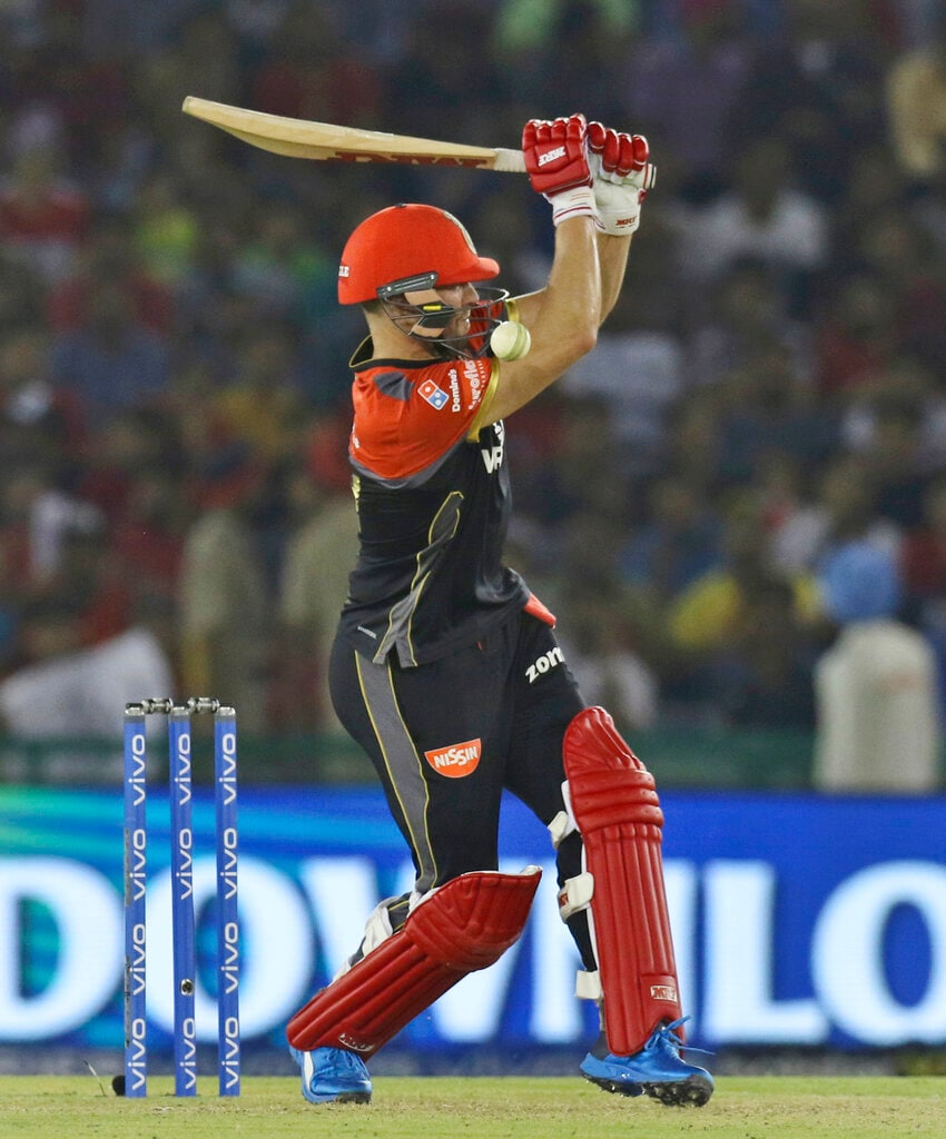 Royal Challengers Bangalore's AB de Villiers bats during the VIVO IPL T20 cricket match between Kings XI Punjab and Royal Challengers Bangalore in Mohali, India, Saturday, April 13, 2019. (AP Photo/Surjeet Yadav)