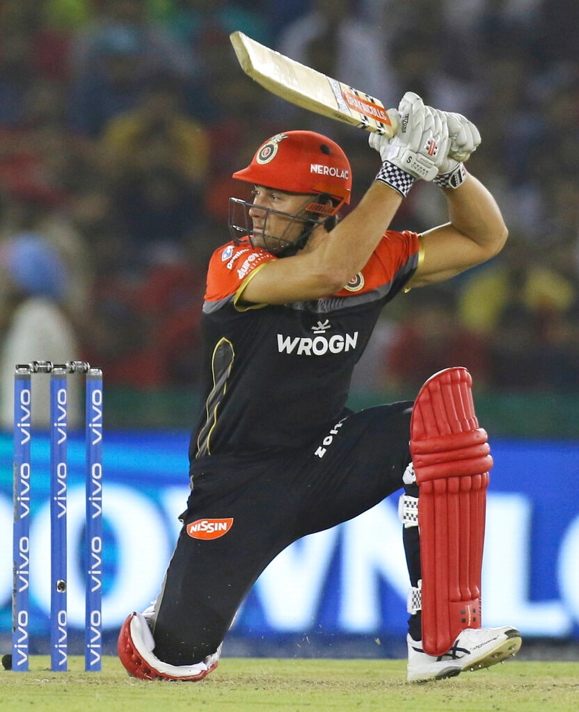 Marcus Stoinis of Royal Challengers Bangalore bats during the VIVO IPL T20 cricket match between Kings XI Punjab and Royal Challengers Bangalore in Mohali, India, Saturday, April 13, 2019. (AP Photo/Surjeet Yadav)