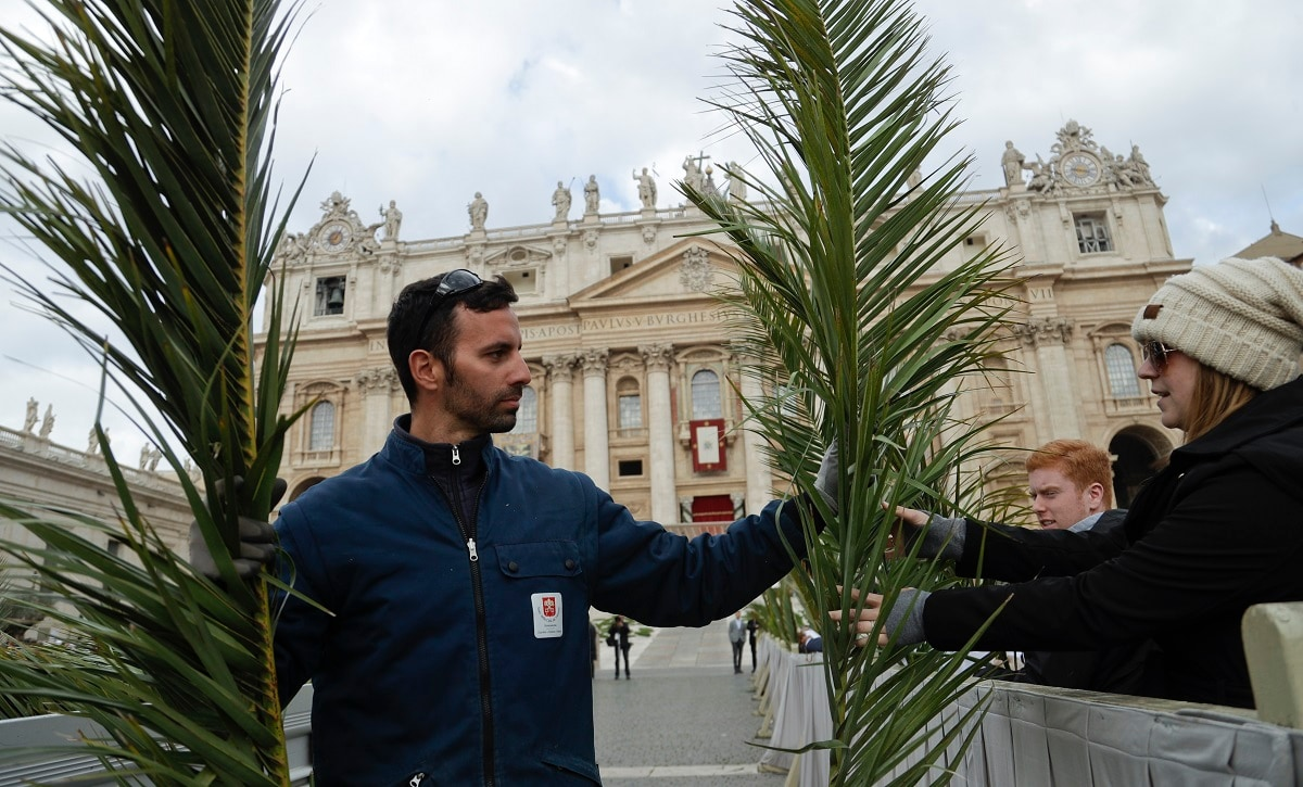 Faithful receive palm fronds as they wait for Pope Francis to celebrate Palm Sunday Mass in St. Peter's Square. (AP Photo/Gregorio Borgia)
