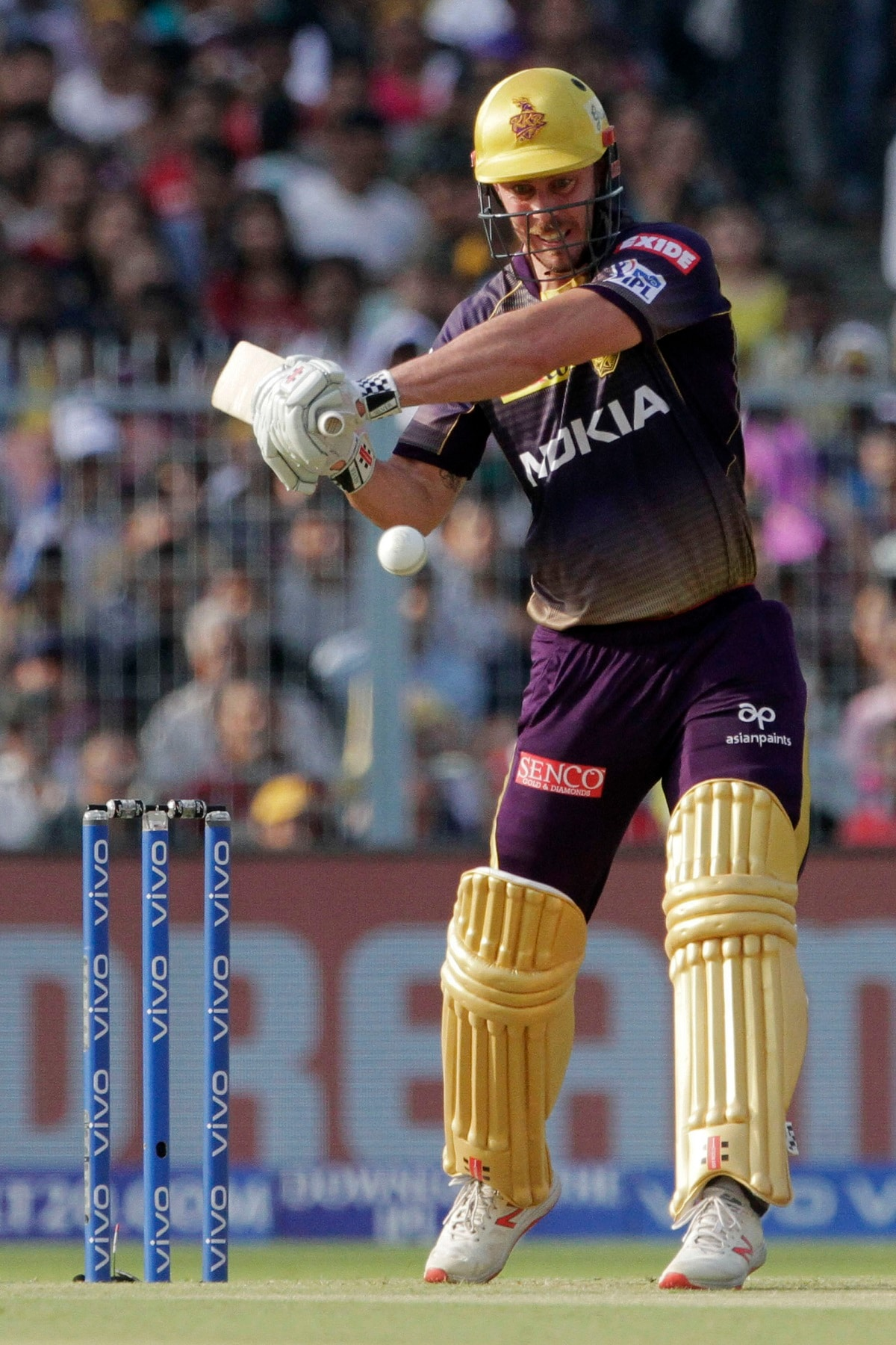 Kolkata Knight Riders' Chris Lynn plays a ball during the VIVO IPL cricket T20 match against Chennai Super Kings in Kolkata. (AP Photo/Bikas Das)