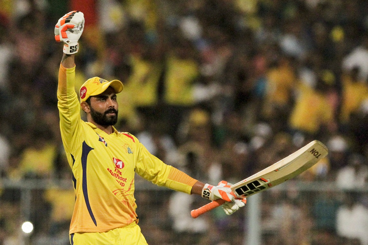 Chennai Super Kings' Ravindra Jadeja gestures after making the winning shot against Kolkata Knight Riders. (AP Photo/Bikas Das)