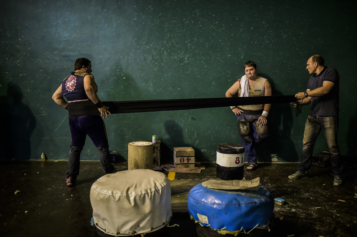 Basque stone lifters prepare for an exhibition in the Basque village of Azkoitia, northern Spain. (AP Photo/Alvaro Barrientos)