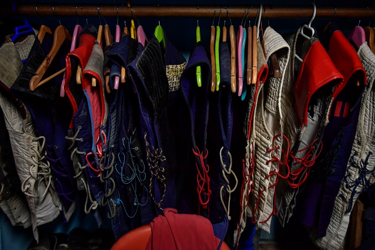 Jackets used by basque stone lifters hang on a rope in a sports centre, in the Basque village of Zarautz, northern Spain. (AP Photo/Alvaro Barrientos)