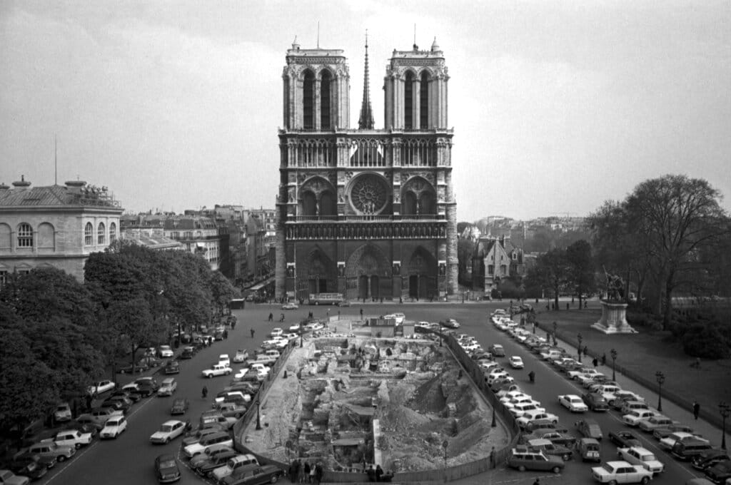 This April 18, 1967, file photo, shows the Notre Dame Cathedral in Paris. Art experts around the world reacted with horror to news of the fire that ravaged cathedral on Monday, April 15, 2019. (AP Photo/File)
