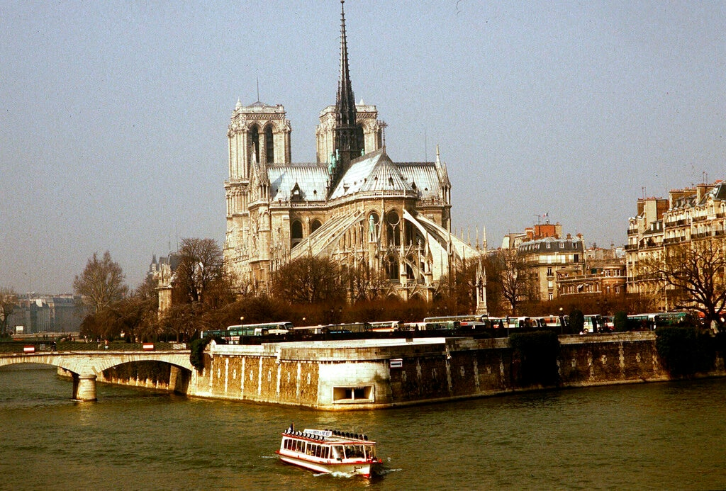 FILE - This 1987 file photo shows the Notre Dame Cathedral in Paris. <span class=