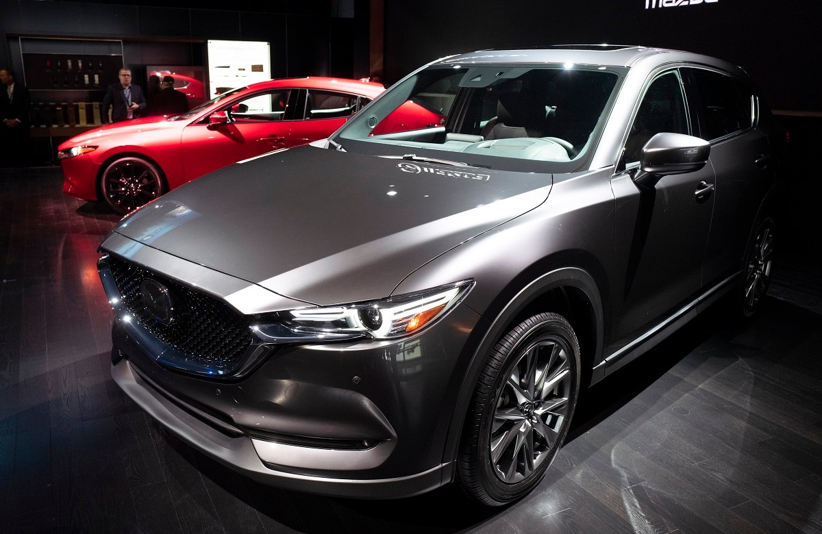 The 2019 Mazda CX-5 is shown at the New York Auto Show. (AP Photo/Mark Lennihan)