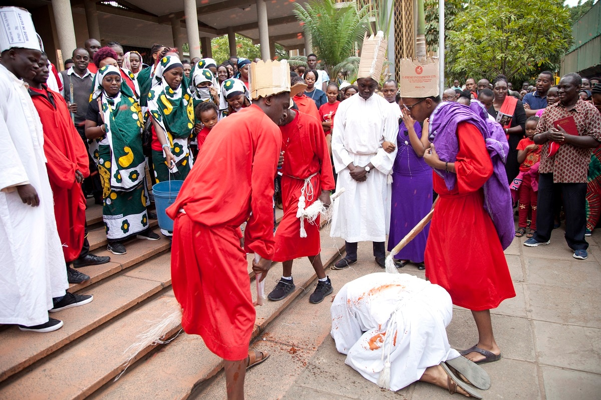 Actors perform the act of Christ crucifixion in Nairobi, Kenya. (AP Photo/Sayyid Abdul Azim)