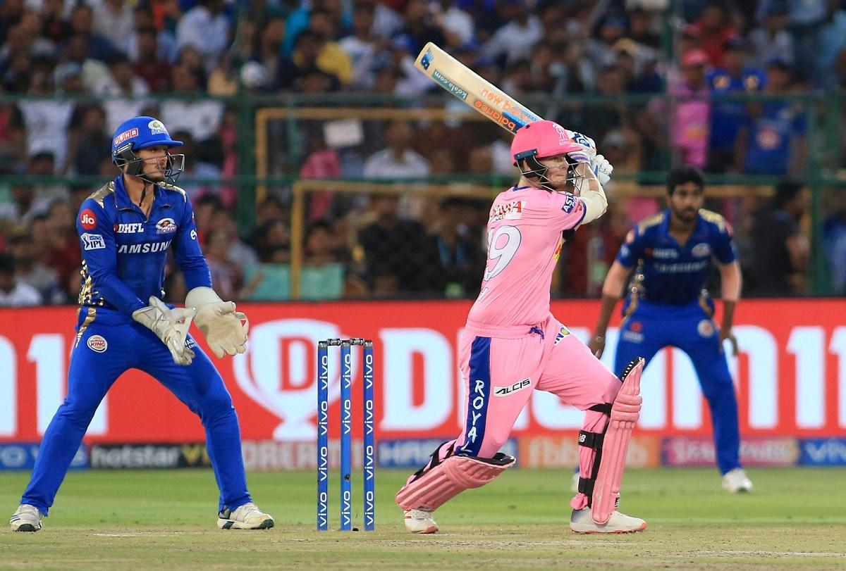 Rajasthan Royals' Steve Smith bats during the VIVO IPL T20 cricket match between Rajasthan Royals and Mumbai Indians. (AP Photo/Vishal Bhatnagar)