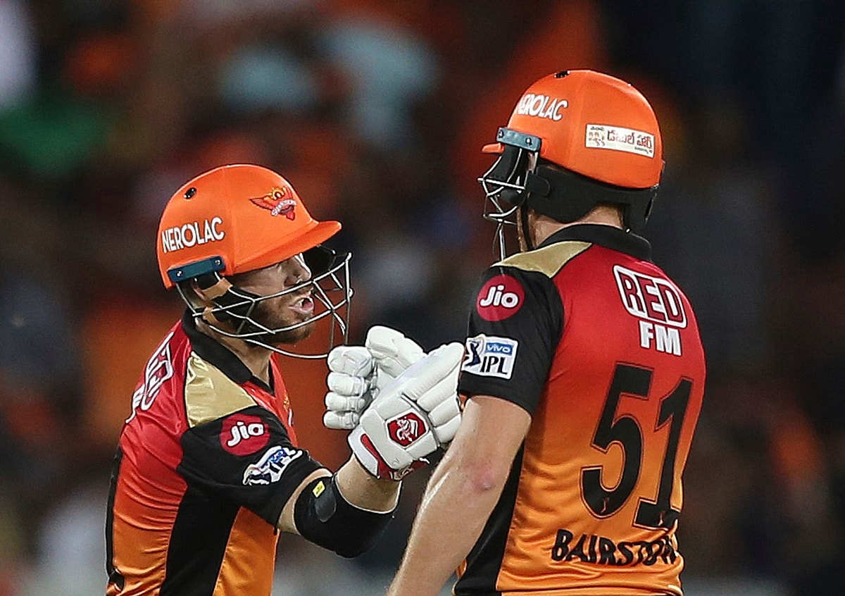 Sunrisers Hyderabad's David Warner and Johny Bairstow greet each other after scoring their fifty runs during the VIVO IPL T20 cricket match between Sunrisers Hyderabad and Kolkata Knight Riders in Hyderabad. (AP Photo/ Mahesh Kumar A.)