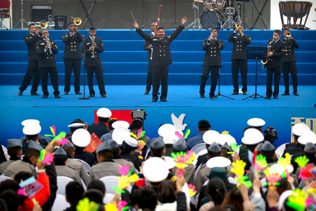 A military band from India performs during a concert featuring Chinese and foreign military bands in Qingdao, Monday, April 22, 2019. (AP Photo/Mark Schiefelbein)