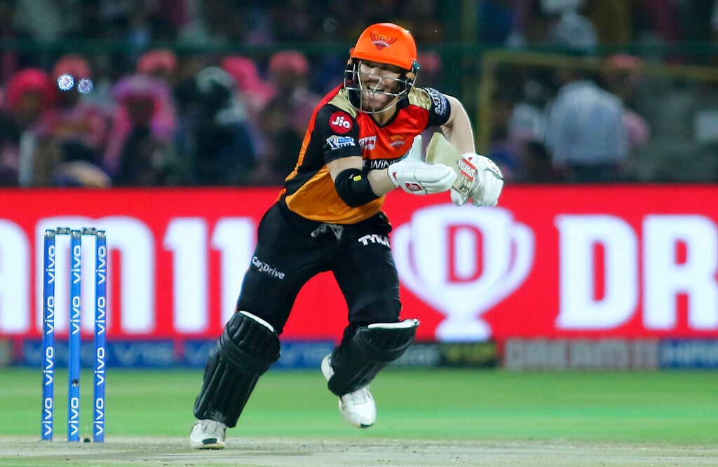 Sunrisers Hyderabad batsman David Warner plays a shot during the VIVO IPL T20 cricket match against Rajasthan Royals in Jaipur, India, Monday, April 27, 2019. (AP Photo/Vishal Bhatnagar)