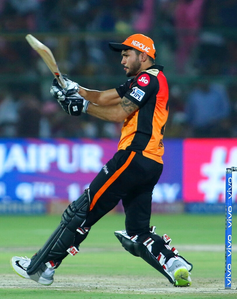 Sunrisers Hyderabad batsman Manish Pandey plays a shot during the VIVO IPL T20 cricket match against Rajasthan Royals in Jaipur, India, Monday, April 27, 2019. (AP Photo/Vishal Bhatnagar)