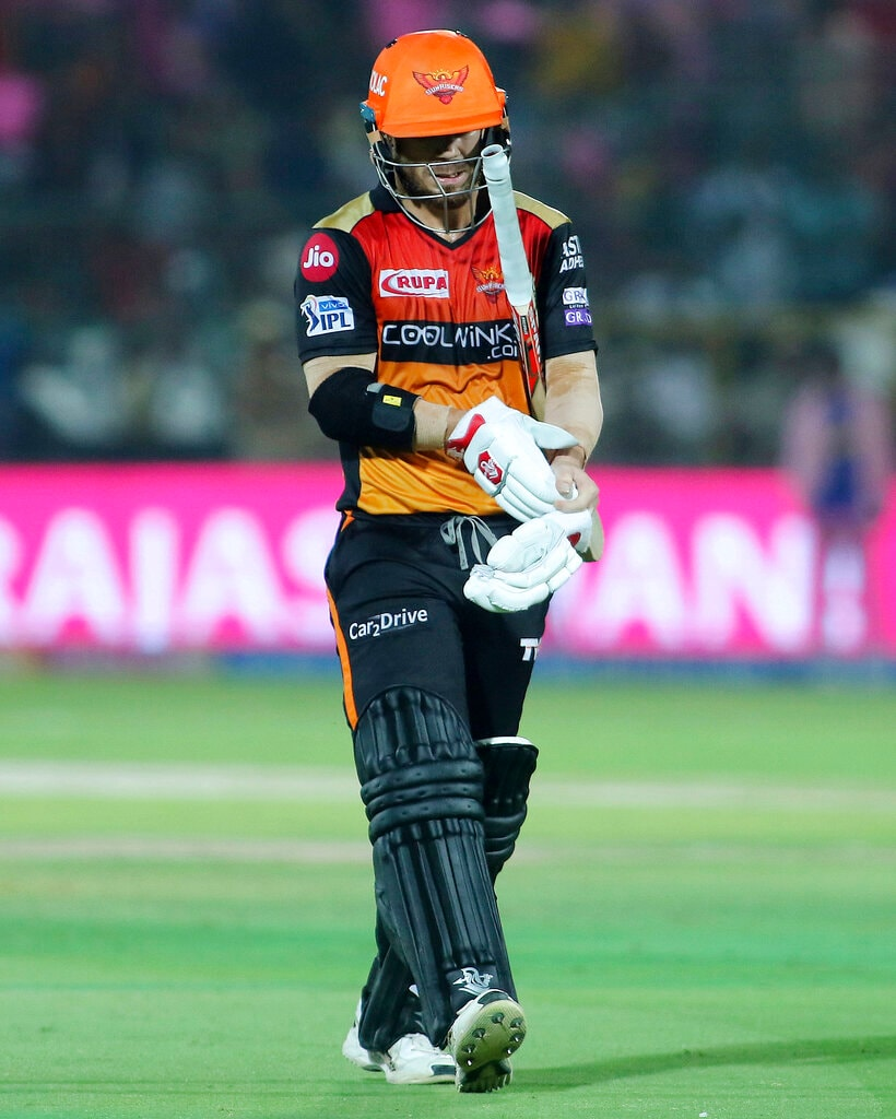 Sunrisers Hyderabad batsman David Warner walks back to pavilion after being dismissed during the VIVO IPL T20 cricket match against Rajasthan Royals in Jaipur, India, Monday, April 27, 2019. (AP Photo/Vishal Bhatnagar)