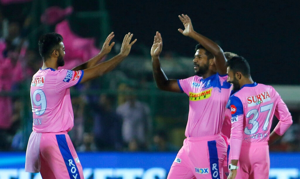 Rajasthan Royals' players celebrate the wicket of Sunrisers Hyderabad batsman Vijay Shankar during the VIVO IPL T20 cricket match in Jaipur, India, Monday, April 27, 2019. (AP Photo/Vishal Bhatnagar)