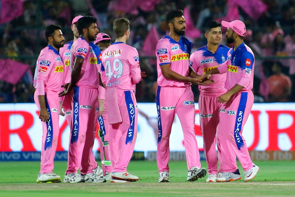 Rajasthan Royals' players celebrate the wicket of Sunrisers Hyderabad batsman Shakib Al Hasan during the VIVO IPL T20 cricket match in Jaipur, India, Monday, April 27, 2019. (AP Photo/Vishal Bhatnagar)