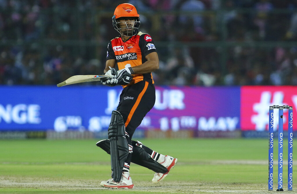 Sunrisers Hyderabad batsman Wriddhiman Saha bats during the VIVO IPL T20 cricket match against Rajasthan Royals in Jaipur, India, Monday, April 27, 2019. (AP Photo/Vishal Bhatnagar)