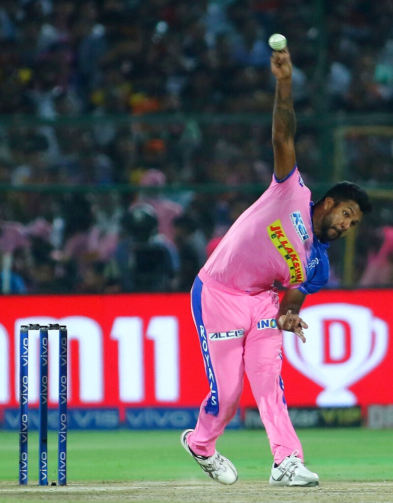 Rajasthan Royals' player Varun Aaron bowls during the VIVO IPL T20 cricket match against Sunrisers Hyderabad in Jaipur, India, Monday, April 27, 2019. (AP Photo/Vishal Bhatnagar)