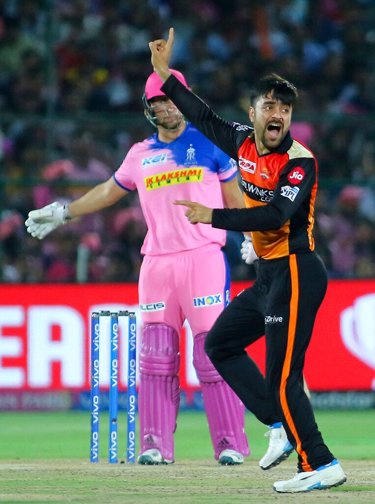 Sunrisers Hyderabad bowler Rashid Khan appeals during the VIVO IPL T20 cricket match against Rajasthan Royals in Jaipur, India, Monday, April 27, 2019. (AP Photo/Vishal Bhatnagar)