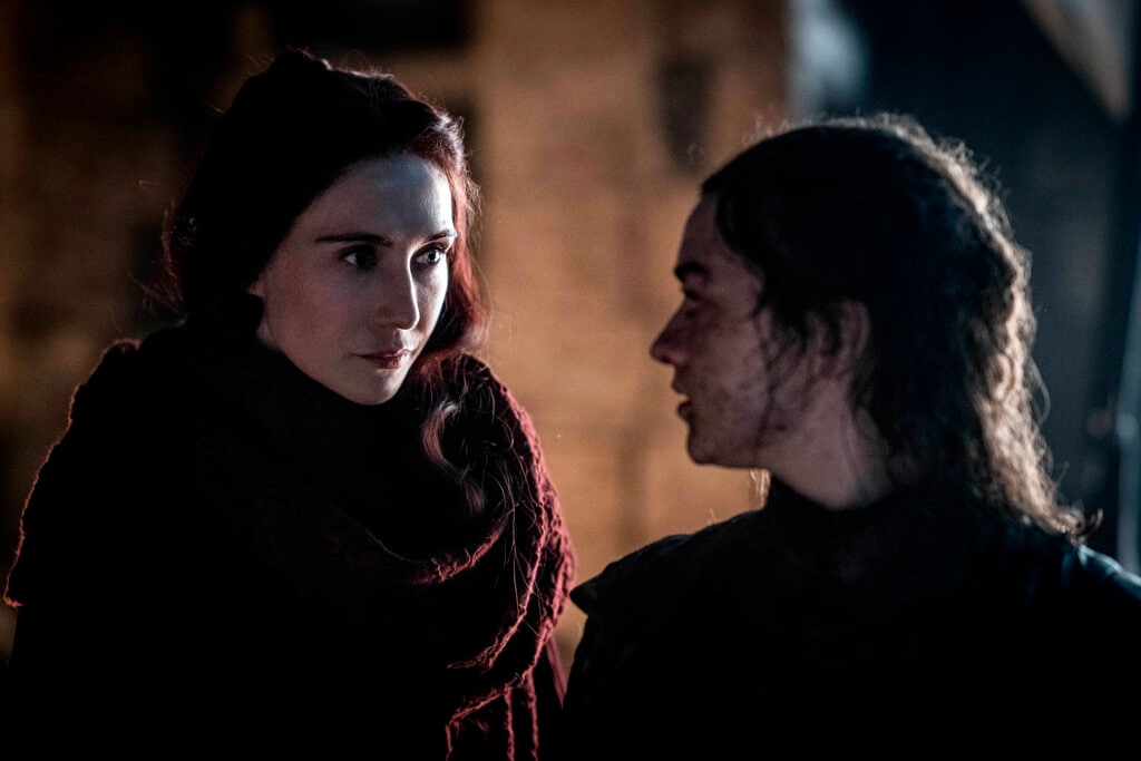 Maisie Williams aka Arya Stark, right, and Carice van Houten aka Mellisandre in a scene from 'Game of Thrones' that aired on Sunday, April 28, 2019. (Helen Sloan/HBO via AP)