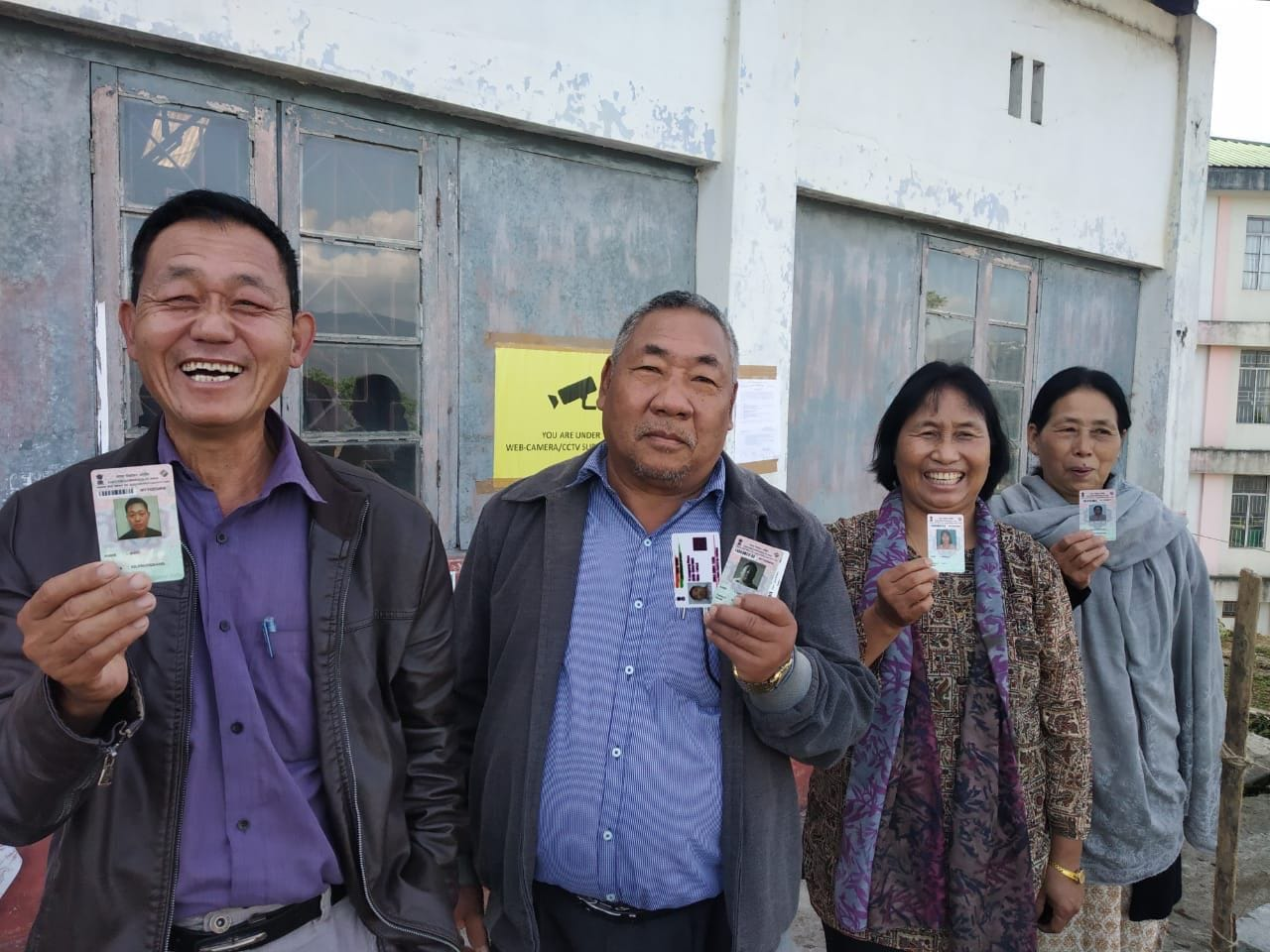 Voters in Kohima, Nagaland wait outside a polling booth to cast their votes in the first phase of Lok Sabha Elections 2019. Polling in Nagaland is for one constituency.