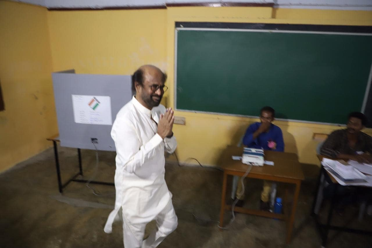 Tamil superstar and politician Rajnikanth heads out of a polling station after casting his vote in Chennai, Tamil Nadu, early this morning during the second phase of 17th Lok Sabha elections. The superstar cast his vote at the polling booth in Stella Maris College. Rajnikanth had earlier announced that he will participate in the 2021 state elections.